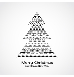 Greeting card with Christmas tree in tribal style vector image