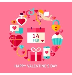 Happy Valentines Day Flat Concept vector image