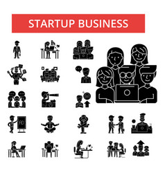 startup business thin line icons vector image vector image