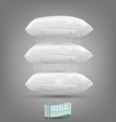 Three cushion falling on a gray background vector image