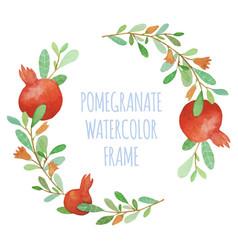 watercolor pomegranate organic wreath vector image vector image