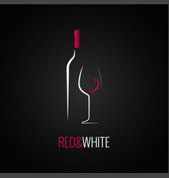 wine glass bottle logo design background vector image vector image