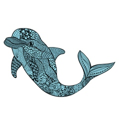 Zentangle stylized blue dolphin hand drawn aquatic vector