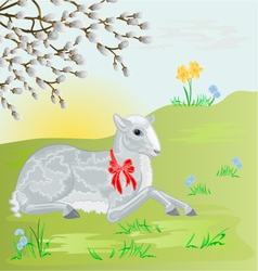 Easter lamb on the meadow and pussy willow vector image