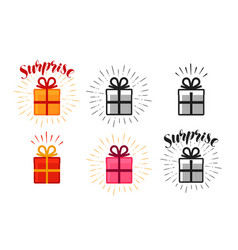 gift box surprise set of icons lettering vector image vector image