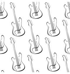 Outline electric guitars seamless pattern vector image vector image