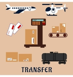 Air and rail freight service icons vector