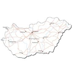 Hungary Black White Map vector image