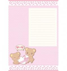 kowhai valentine greeting card bears vector image