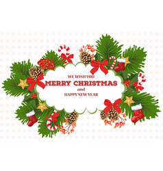merry christmas card wreath vector image vector image