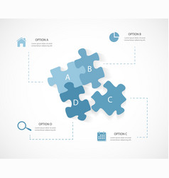 modern business infographic puzzle 4 options vector image vector image