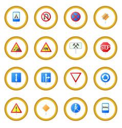 road sign set icon circle vector image