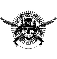 skull in helmet with goggles and crossed machine vector image vector image