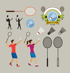 Badminton Player and Graphic Elements vector image vector image