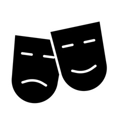 comedy and tragedy theatre masks silhouette icon vector image