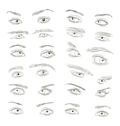 Hand drawn Eyes set vector image
