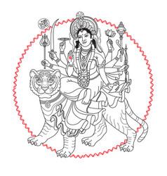 Hindy goddess durga sitting on the tiger vector
