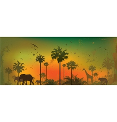 Jungle background 1 vector image