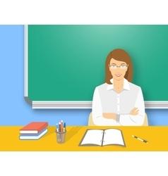 School teacher woman at the desk flat education vector image vector image