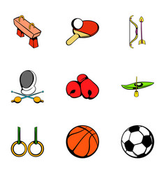 sport gym icons set cartoon style vector image