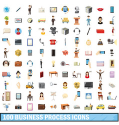 100 busness process icons set cartoon style vector image