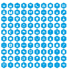 100 dress icons set blue vector image