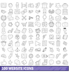 100 website icons set outline style vector image