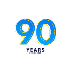 90 years excellent anniversary celebration blue vector
