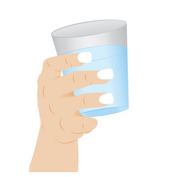 A glass of clean water in a hand vector
