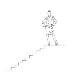 a woman succeeds career ladder vector image