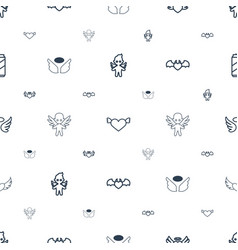 angel icons pattern seamless white background vector image