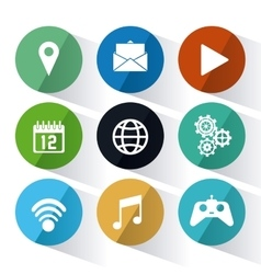Apps and circles icon set vector