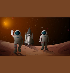Astronaut in space scene vector