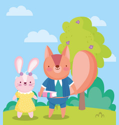 back to school cute rabbit and squirrel with book vector image