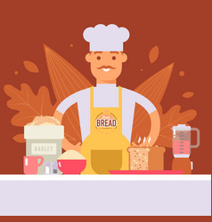 baker making bread professional cook in chef vector image