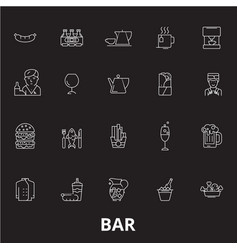 bar editable line icons set on black vector image