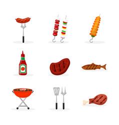 Barbeque food flat set vector