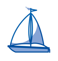 Blue shading silhouette of sailboat icon vector