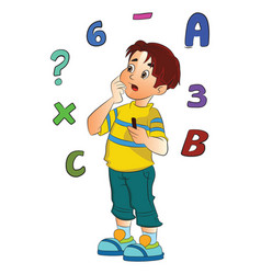 Boy solving a math problem vector