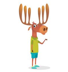 cartoon funny hipster elk moose vector image