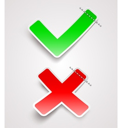 Check mark and cross paper signs vector