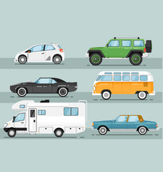 City auto vehicle isolated set vector