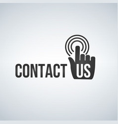 contact us icon with hand mouse cursor and waves vector image