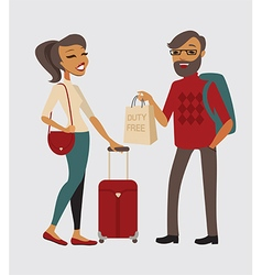 Couple traveling with hand baggage vector image