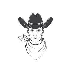 cowboy face isolated on white background vector image