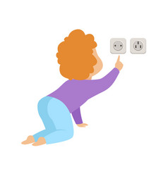 Cute toddler baby touching an electrical socket vector