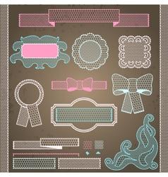 Decorative lace ribbon bows and ornaments vector image