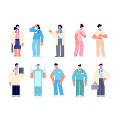 different medical characters man doctors nurse vector image