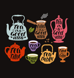 drink tea coffee label set collection vector image