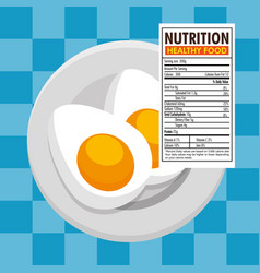 Eggs frieds with nutrition facts vector